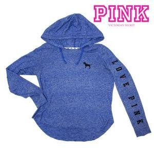 PINK Victoria's Secret blue hooded sweat shirt Med